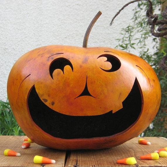 Natural Halloween Decorations: Halloween Gourd Jack O Lantern Natural Fall Harvest Spooky