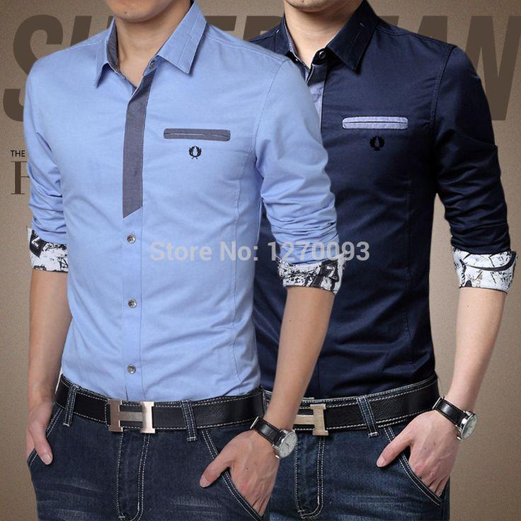 Plus Size M-XXXL New 2015 Spring Brand Casual Men Shirt Long Sleeve Slim Fit Denim Shirts For Men camisa masculina Free Shipping