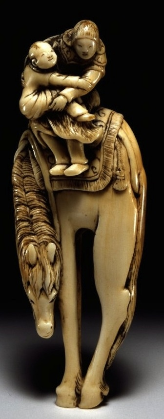 Netsuke. Chao Yun carrying Liu Beis son, A Tow, away on horseback. Made of…