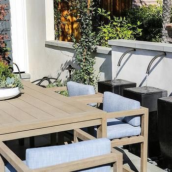 Blue and Gray Outdoor Dining Chairs with Gray Teak Table