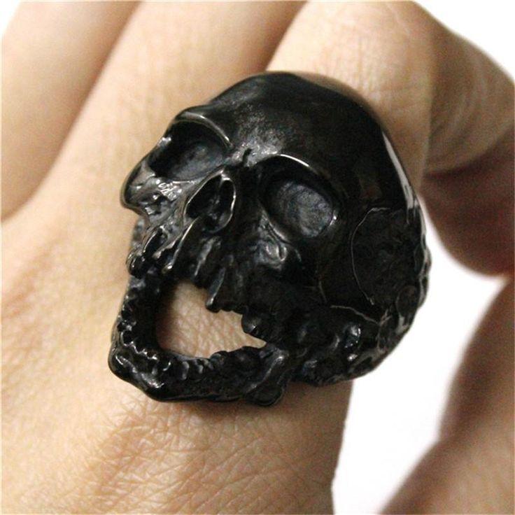 Black Silver Huge Skull Ring 316L Stainless Steel Punk Style Newest Design Men Boys Skull Ring