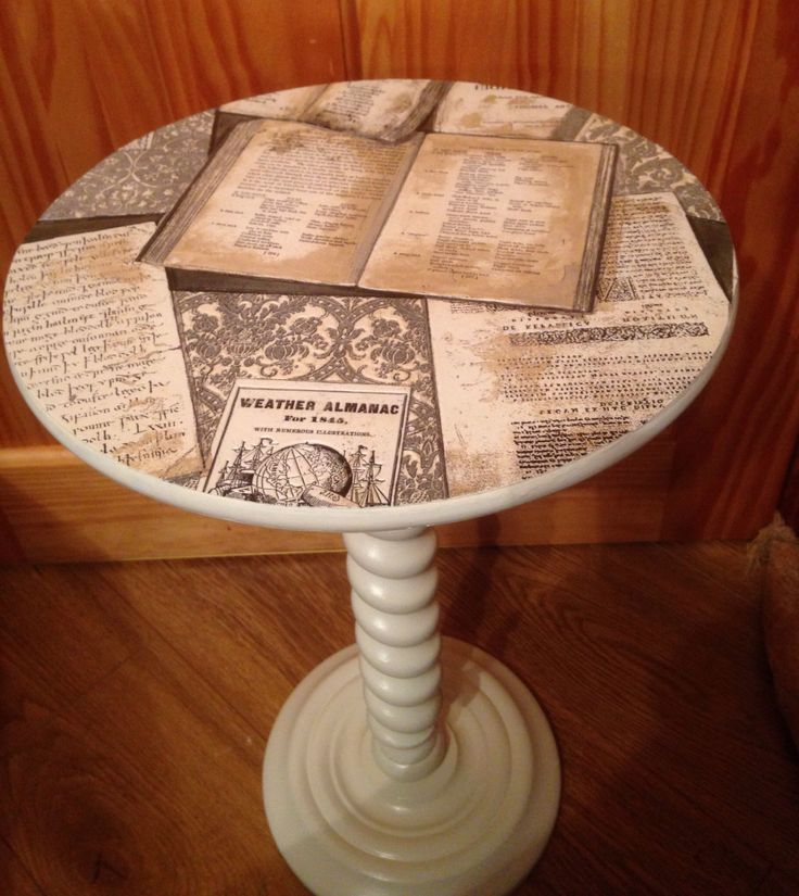 Small Lamp Table Painted In Old Ochre With Decoupage Top