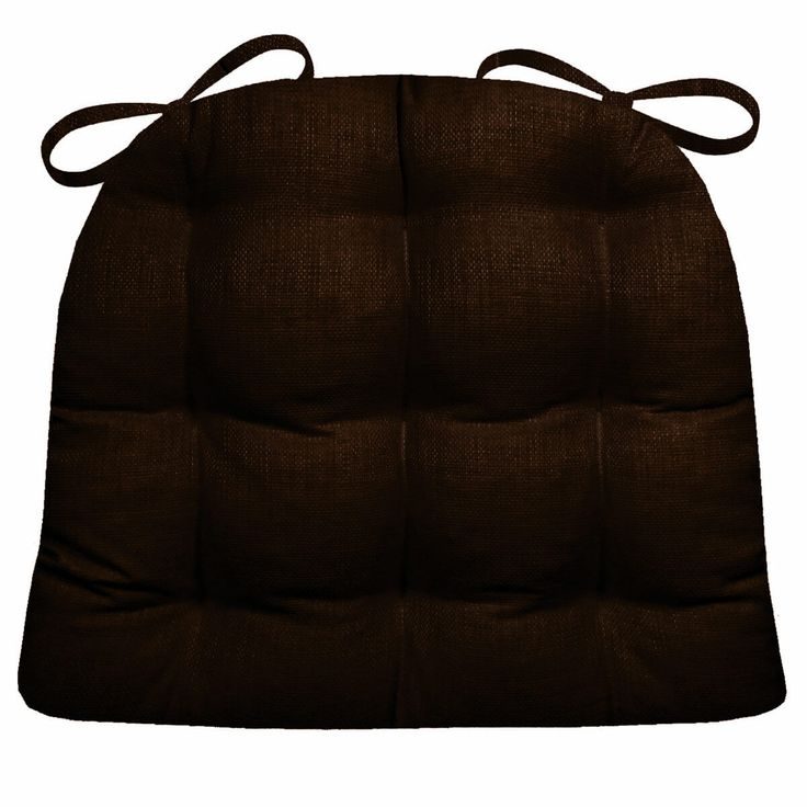Rave Brown indoor/outdoor dining chair pads and patio chair cushions feature a sophisticated chocolate color woven fabric with a subtle sheen.  #Transitional #outdoor #chairpad