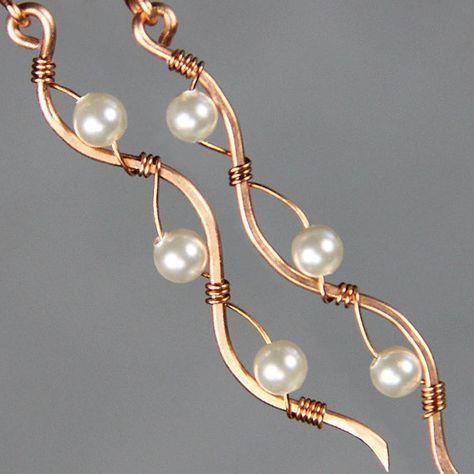 Copper pearl Ocean wavy line long linear wiring earrings