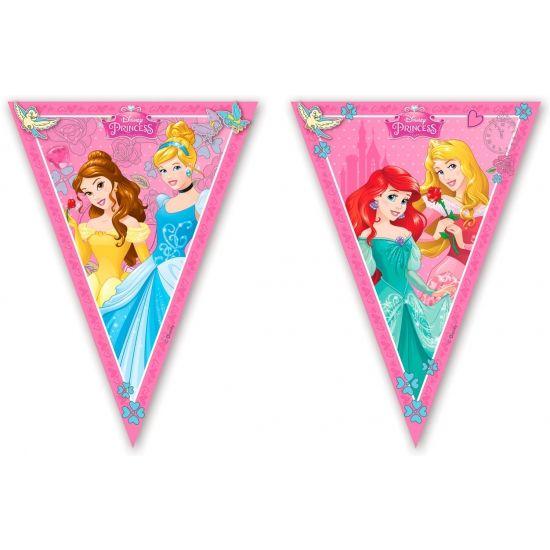 Disney prinses vlaggenlijn 2,3 m. Plastic vlaggenlijn met opdruk van de Disney prinsessen. De vlaggenlijn is ongeveer 2,3 meter lang.