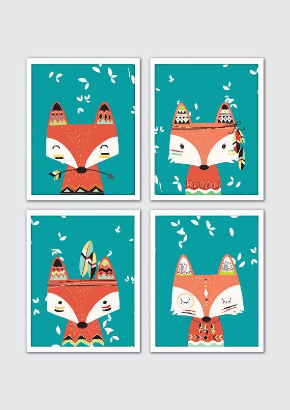 Fox vivero arte Tribal vivero arte decoración por RomeCreations