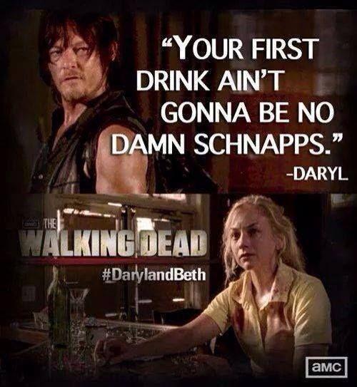 The Walking Dead season 4. Daryl Dixon and Beth Greene. Good call, Daryl. TWD quote.