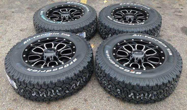 "Set 4 17"" Ford F250 F350 Wheel Tire Package Helo Black Wheels 8x170 BFG Tires"