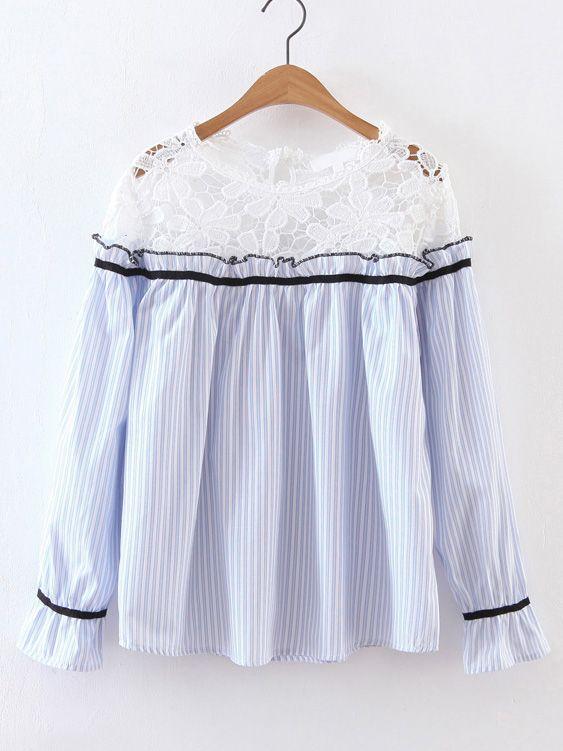 Shop Blue Contrast Crochet Vertical Striped Blouse online. SheIn offers Blue Contrast Crochet Vertical Striped Blouse & more to fit your fashionable needs.