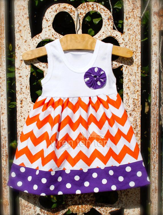 Hey, I found this really awesome Etsy listing at http://www.etsy.com/listing/127947255/clemson-tank-dress-in-chevron-polka-dot
