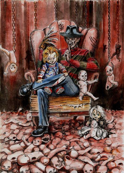 Freddy & Chucky.  I love the babydoll addition in this pic!