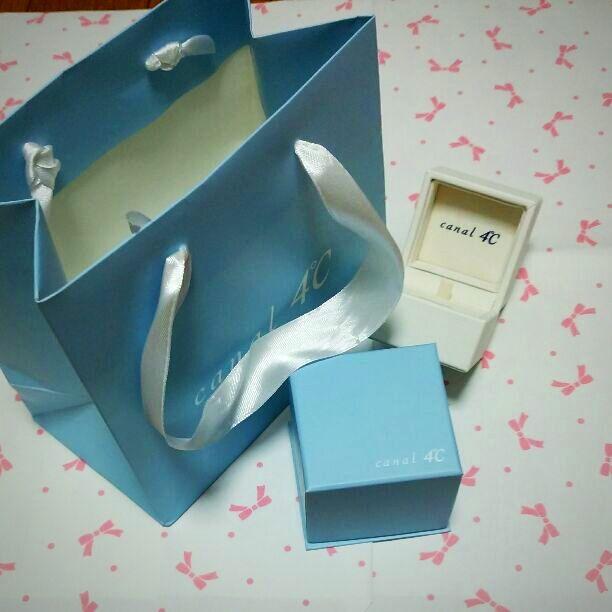 4℃ 指輪ケース&ショップ袋  BOX: 5x5x5  Bag: 15x16.5x9