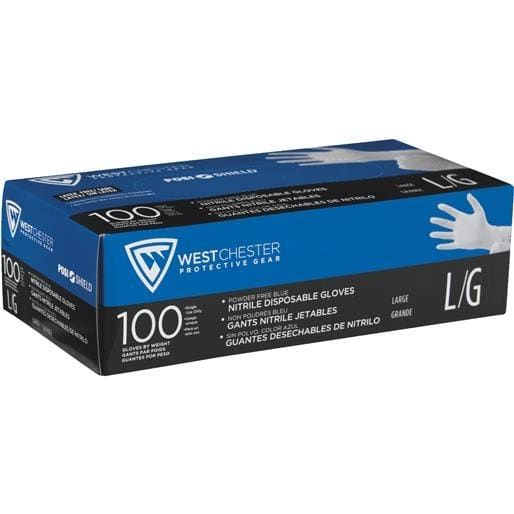 West Chester Lg Blue Nitrile Gloves 2910/L Unit: BOX