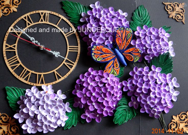 Hydrangea and butterfly wall clock , from 2mm strips