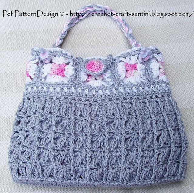 Grey Granny Square Bag By Ingunn Santini - Purchased Crochet Pattern - (ravelry)