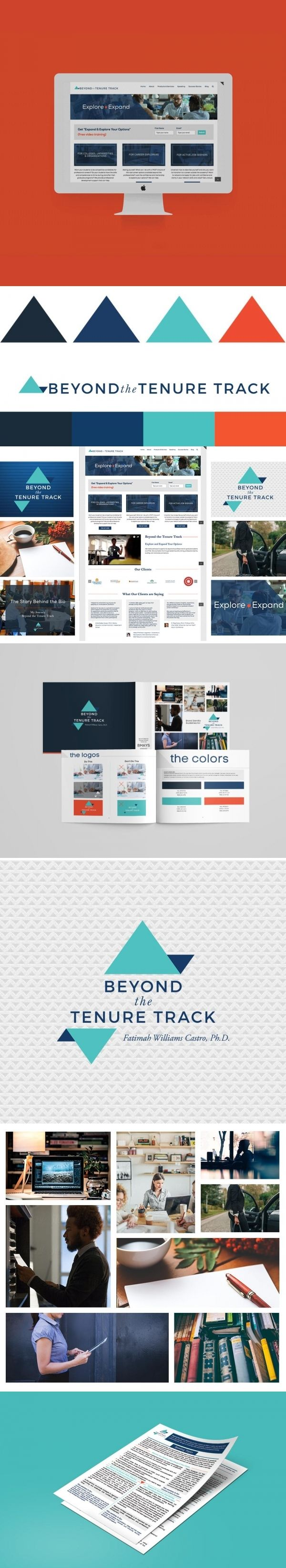 Brand Identity Design for Beyond the Tenure Track founded by Fatimah Williams-Castro   Workbook layout design   One page layout   custom icons   Wordpress Website design   Brand inspiration   Social media brand design