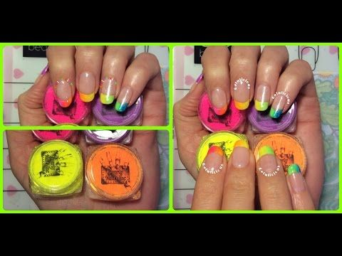 Neon French Manicure Nail Design Using GnarlyNailsinc Powders Whats On My Nails? - http://www.nailtech6.com/neon-french-manicure-nail-design-using-gnarlynailsinc-powders-whats-on-my-nails/
