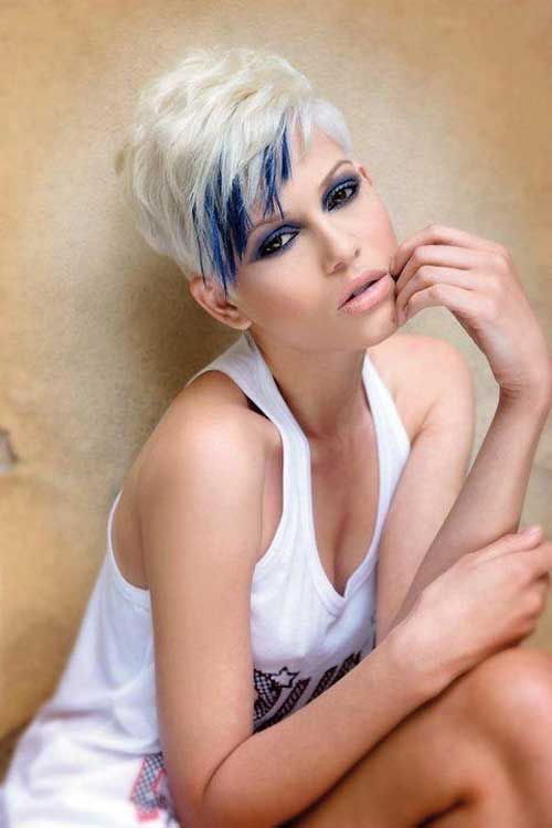 Blonde and blue hair color - I would not do this blonde, but I like how the blue is just accented around face