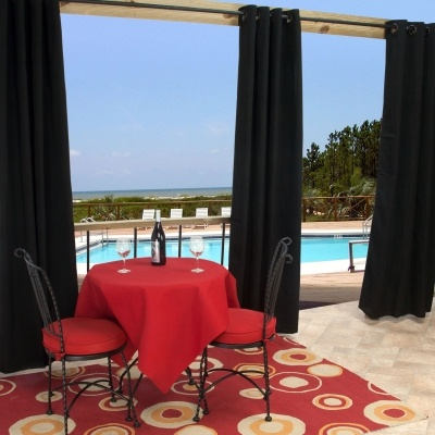 Sunbrella Outdoor Curtain With Grommets   Black By Sunbrella Item #:  CURBLGRS Starting At $89.95