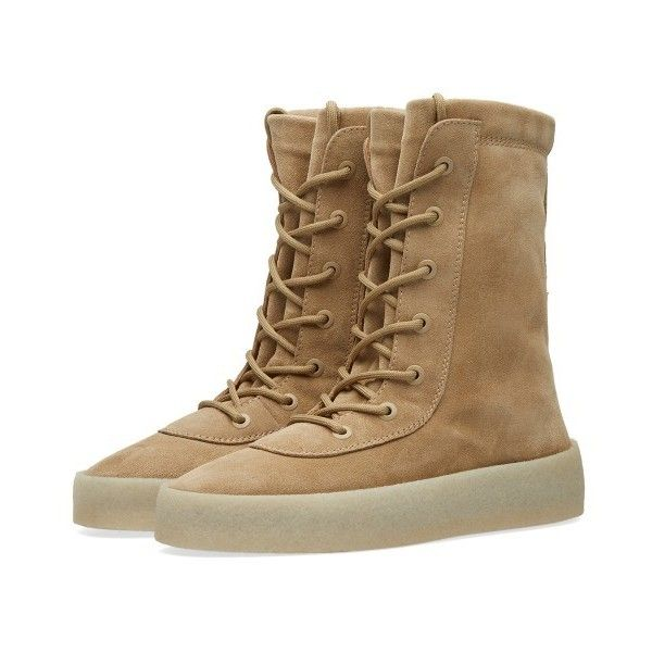 Yeezy Season 2 Crepe Boot (Taupe) ❤ liked on Polyvore featuring shoes, boots, taupe shoes, crepe boots, yeezy season 2 shoes, crepe shoes and yeezy season 2 boots