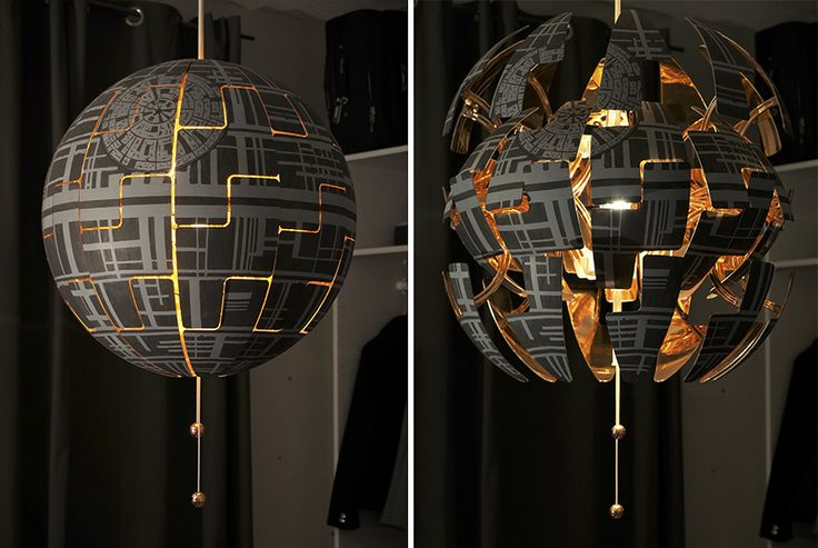 As two big nerds we both love Star Wars. I always saw the IKEA PS 2014 lamp and thought it looks so much like a death star! With my boyfriend moving in, we took the chance and converted one of those plain white lamps to the exploding death star floating over our bed. We absolutely love it.