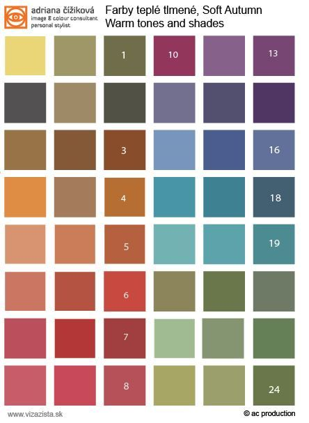 Soft Autumn tonal palette. Basic. Use this colours near the face for blouses, tops, scarves, shirts, dresses...Former colour type od 12 groups colour system since 2003. Soft Autumn was split into two - Soft Autumn and Light Autumn Soft.