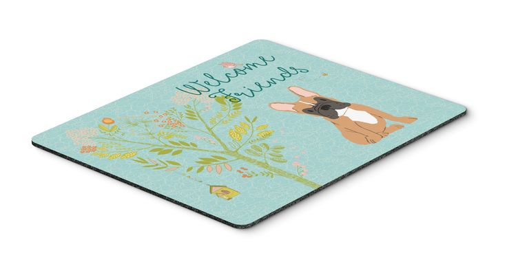 Welcome Friends Fawn French Bulldog Mouse Pad, Hot Pad or Trivet BB7633MP