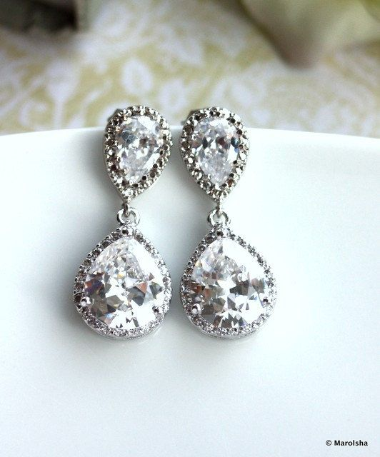 Pear Drop Luster Rhodium Plated Cubic Zirconia Clear Jewels Large Luxe Drop Earrings. Bridesmaids Jewelry, Bride Earrings. Glamour Wedding.