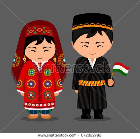 Tajiks in national dress with a flag. Man and woman in traditional costume. Travel to Tajikistan. People. Vector flat illustration.