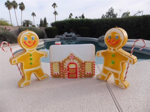 3 Pc Set Gingerbread Man House Lighted Christmas Mold Outdoor Yard Decor Decorations Vintage