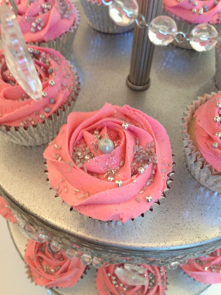 Cupcake Decorating Ideas For Sweet 16 : Pink & silver cupcakes for a sweet 16th birthday bash. # ...