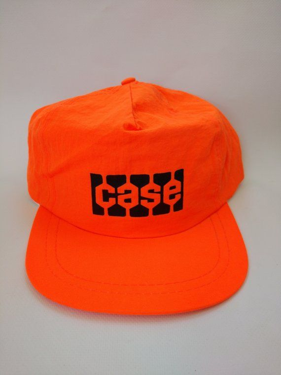 a24fde271 Vintage Hat Case Construction Neon Orange Retro 1980s Cap ...