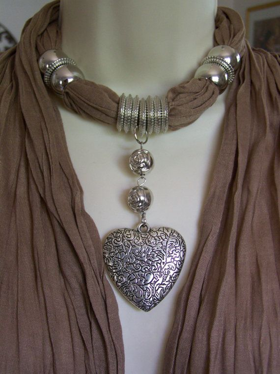 Tan Jewelry Scarf necklace scarf necklace by Lacesanddreams, $23.00