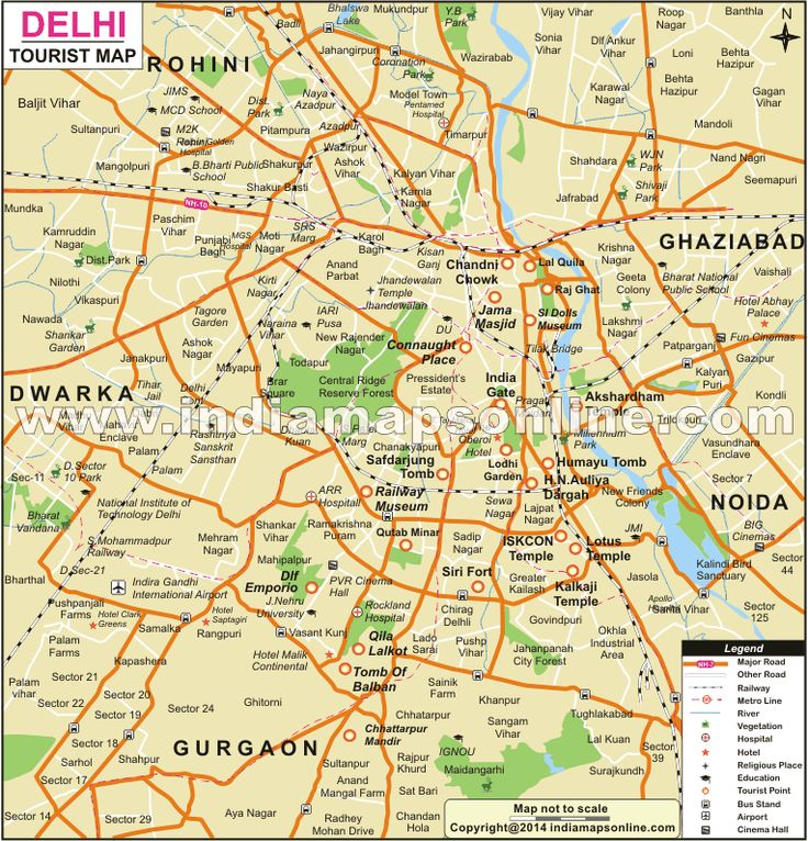 Delhi Tourist Map Showing major tourist attractions in Delhi.