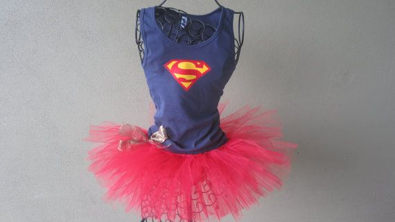 Superhero Running Tutu: Supergirl Inspired Custom Racing Tank and Pixie Length (9 inch) Tutu via Etsy (Though i'd totally make this instead and save about $50!!)