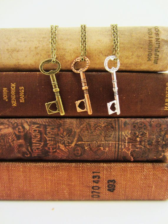 Set of three key friendship necklaces. Bronze, copper, silver. Key to my heart. Small heart. Skeleton key. Best friend gift. on Etsy, $29.00