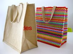 I jazzed up a plain brown grocery tote the other day with a burst of colourful crochet! Here's how, Firstly, purchase a plain tote, available from Coles supermarkets in Australia.  Secondly, …