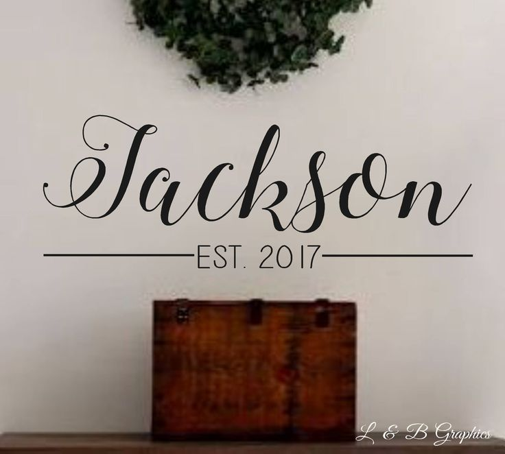 Wall Decoration For Wedding Anniversary : Last name established vinyl wall decal lettering home