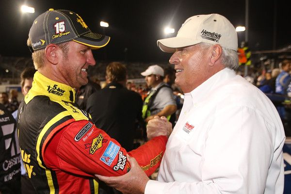 Rick Hendrick Photos Photos - Clint Bowyer, driver of the #15 5-hour Energy Toyota, shakes hands with Rick Hendrick, a team owner, after making the Chase for the Sprint Cup after the NASCAR Sprint Cup Series Federated Auto Parts 400 at Richmond International Raceway on September 12, 2015 in Richmond, Virginia. - NASCAR Sprint Cup Series Federated Auto Parts 400