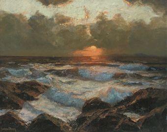 Julius Olsson painting, Sunrise