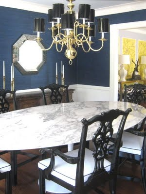 love this uber dark color in a dining room!