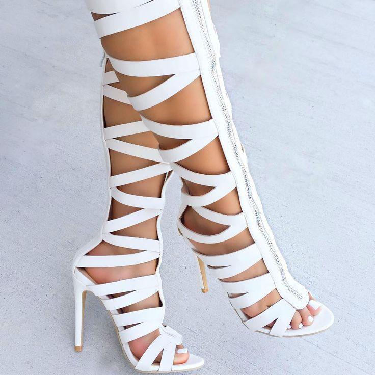 Knee High Zipper Gladiator Heels