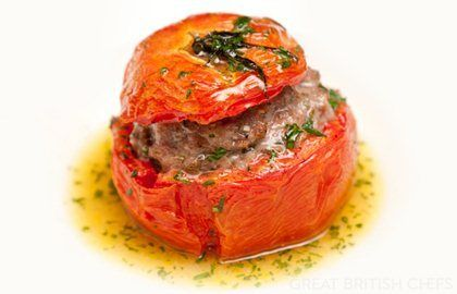 Tomato farcies (Toulouse sausage stuffed tomato) - Henry Harris | Great British Chefs