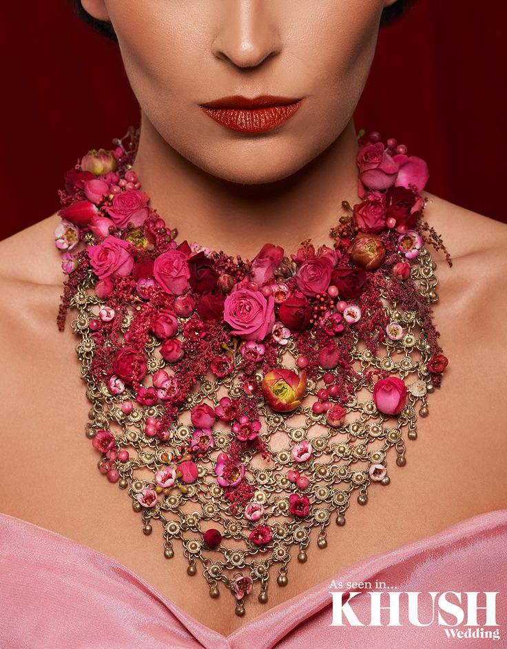 Be mehndi ready with this exquisite floral necklace by Zita Elze Flowers  www.zitaelze.com