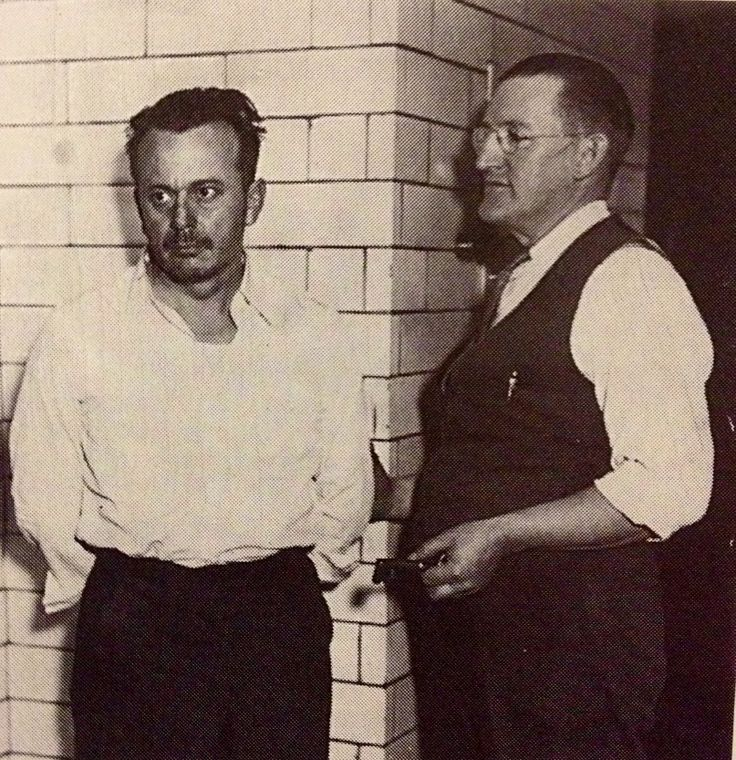 """Arthur """"Doc"""" Barker (left) with Ramsey County jailer William Gates in 1935   From: John Dillinger Slept Here by Paul Maccabee"""