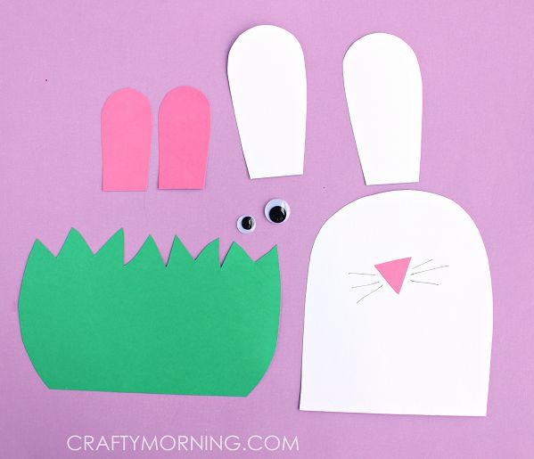 bunny hiding grass craft