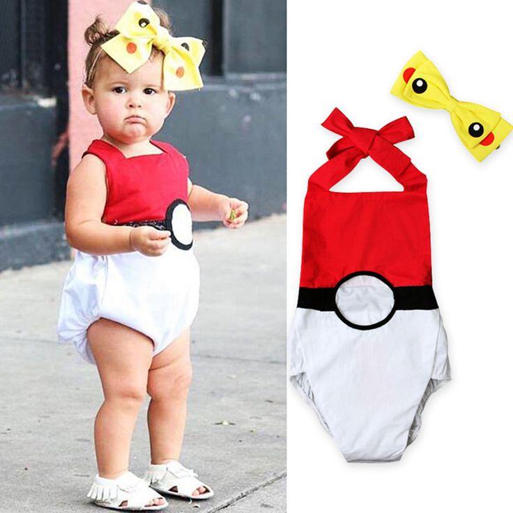 Newborn Baby Girls Pikachu Costume Romper + Headband 2pcs Bodysuit Cotton Outfit #Fashion #2pcsRomperJumpsuitBodysuitPlaysuit #DressyEverydayHolidayPartyCasualPhotoShoot