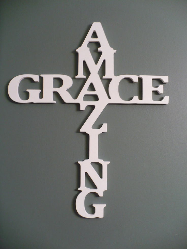 Wooden amazing grace cross wall decor via etsy for Sign decoration