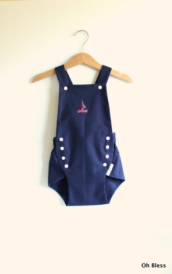 Vintage style retro baby romper / playsuit with by OhBless on Etsy