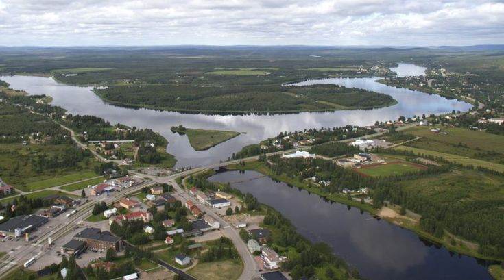 Pello centre and the Tornio River in summer, photographed from the air